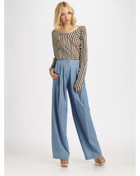 See By Chloé - Blue High-waisted Wide-leg Trousers - Lyst