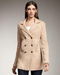 Splendid | Brown Short Knit Trench coat | Lyst