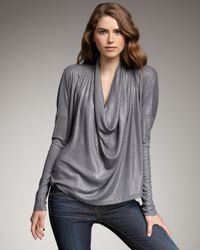 Splendid | Gray Shimmery Draped Top | Lyst