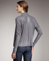 Splendid | Gray Shimmery Draped Top | Lyst