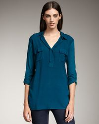 Splendid | Blue Tab-sleeve Long Blouse | Lyst