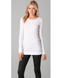 Splendid | White Distressed Thermal Tee | Lyst