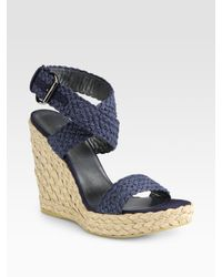 Stuart Weitzman | Blue Alex Espadrille Wedge Sandals | Lyst