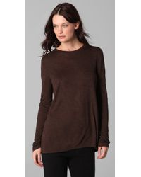 T By Alexander Wang - Brown Classic Long Sleeve Tee with Pocket - Lyst