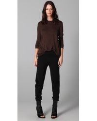 T By Alexander Wang | Brown Classic Long Sleeve Tee with Pocket | Lyst