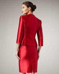 Tahari | Red Rosette-detailed Taffeta Suit | Lyst