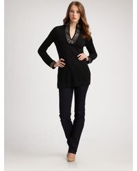 Tory Burch - Black Embellished Merino Wool Tunic - Lyst