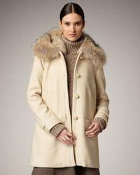 Tory Burch | Natural Ivan Fur-trim Coat | Lyst