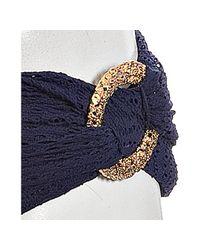 Trina Turk - Blue Navy Crochet Knit Foldover Hipster Bikini Bottoms - Lyst