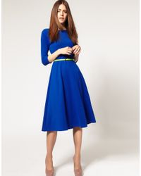 ASOS Collection | Blue Asos Midi Dress with Belt | Lyst