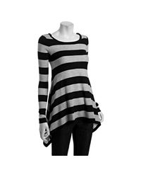 Autumn Cashmere - Black Metallic Striped Lurex Cashmere-silk Handkerchief Hem Sweater - Lyst