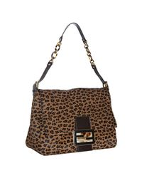 Fendi | Brown Leopard Calf Hair Mama Shoulder Bag | Lyst