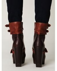 Free People | Brown Andee Platform Buckle Boot | Lyst