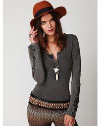 Free People | Gray Crochet Cuff Henley | Lyst