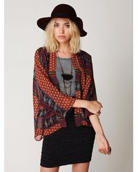 Free People | Red Paisley Printed Kimono | Lyst