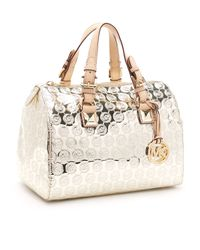 Michael Kors | Metallic Medium Grayson Monogram Satchel | Lyst