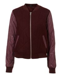 TOPSHOP | Purple Nylon Wool Bomber | Lyst