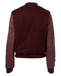 TOPSHOP - Purple Nylon Wool Bomber - Lyst