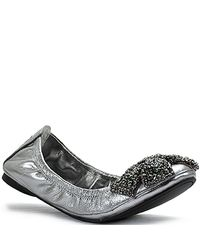 Tory Burch | Eddie Metallic Leather Crystal-coated Bow Ballet Flats | Lyst