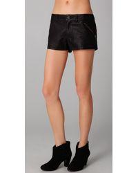 Free People | Black Rocker Vegan Leather Shorts | Lyst