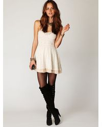 Free People - White Scallop Strapless Dress - Lyst
