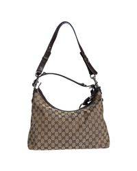 Gucci | Natural Brown Gg Canvas Icon Bit Medium Hobo | Lyst
