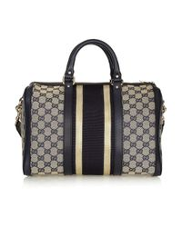 Gucci - Black Leather-trimmed Canvas Bowling Bag - Lyst