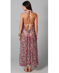 Josa Tulum - Pink Chiffon Low Back Halter Cover Up Dress - Lyst