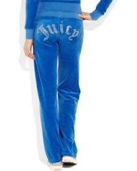 Juicy Couture | Blue Embellished Velour Track Pants | Lyst