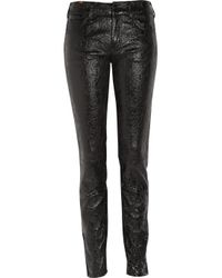 Notify - Black Bamboo 75 Cracked Patent-leather Pants - Lyst