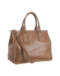 Prada | Brown Leather Convertible Shoulder Bag | Lyst