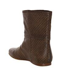 Prada - Brown Smoke Perforated Leather Flat Booties - Lyst