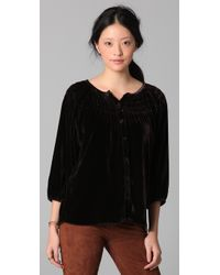 Tucker - Black Wide Smock Yoke Blouse - Lyst