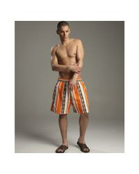 Vilebrequin | Orange Turtle Stripe Print Moorea Swim Trunks for Men | Lyst
