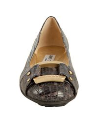 Jimmy Choo - Gray Anthracite Lizard Embossed Morse Buckle Flats - Lyst