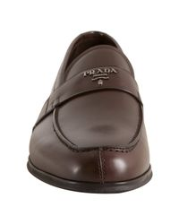 Prada - Burnt Brown Leather Logo Penny Loafers for Men - Lyst