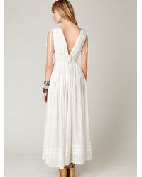 Free People | White Threaded Lurex Maxi Dress | Lyst