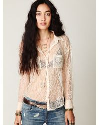 Free People | White London Calling Top | Lyst
