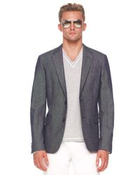 Michael Kors | Gray Denim Blazer, Tipped V-neck Sweater & Modern-fit Jeans for Men | Lyst