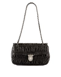Prada | Black Napa Gaufre Chain Shoulder Bag | Lyst