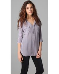 Splendid | Purple Pocket Blouse | Lyst