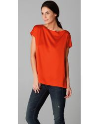 VINCE | Orange Boat Neck Tee | Lyst
