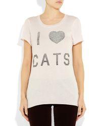 Zoe Karssen   Natural I Heart Cats Cotton and Modal-blend T-shirt   Lyst