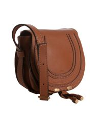 Chloé - Brown Tan Calfskin Marcie Mini Crossbody Bag - Lyst