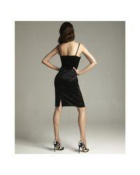 Dolce & Gabbana - Black Sateen Straight Neck Spaghetti Strap Dress - Lyst