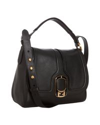 Fendi | Black Leather Anna Small Shoulder Bag | Lyst