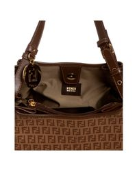 Fendi | Brown Hazelnut Zucchino Canvas Forever Shopping Hobo | Lyst