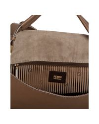 Fendi - Brown Mud Leather Anna Medium Shoulder Bag - Lyst