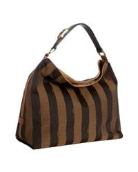 Fendi | Brown Tobacco and Sienna Striped Pequin Hobo | Lyst