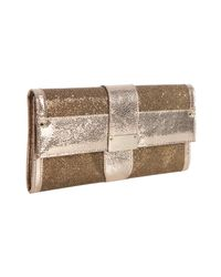 Jimmy Choo | Metallic Gold Leather Trim Glitter Ubai Wallet Clutch | Lyst